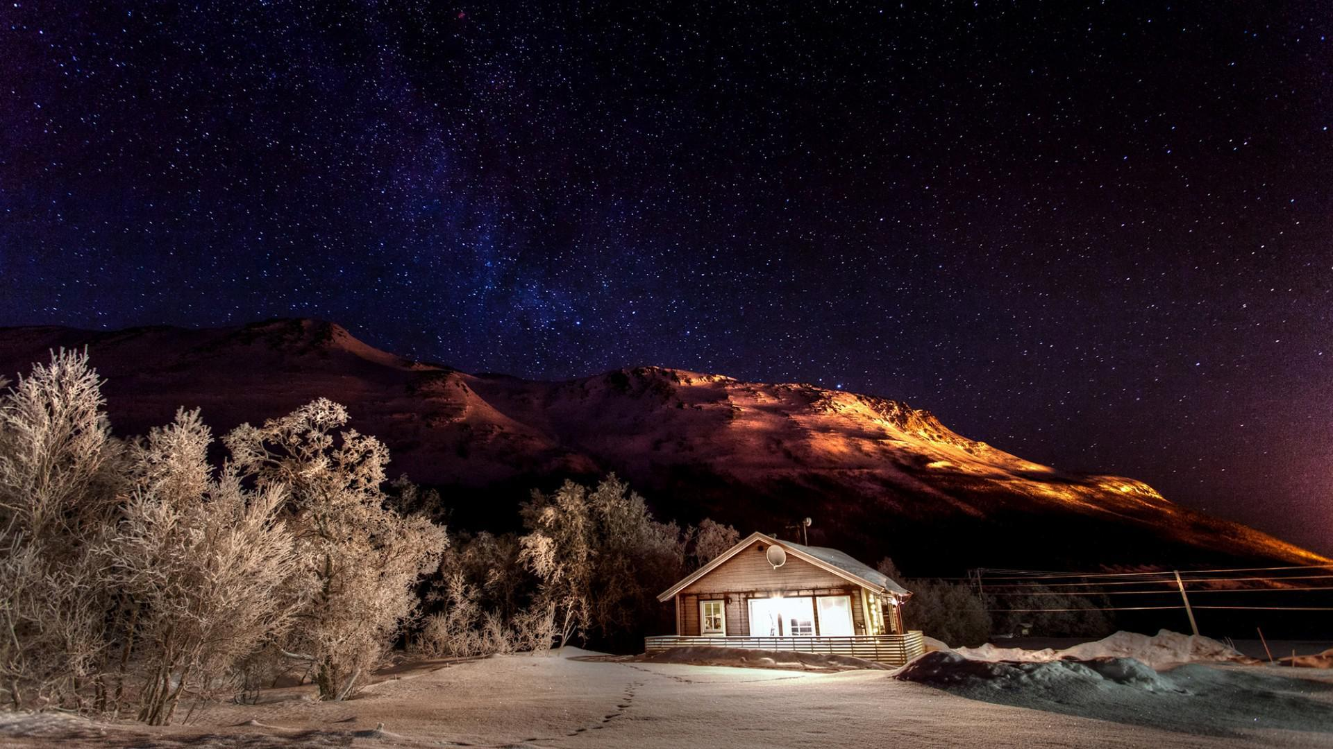 Tapete Berge Winter Natur Schnee Nacht Himmel