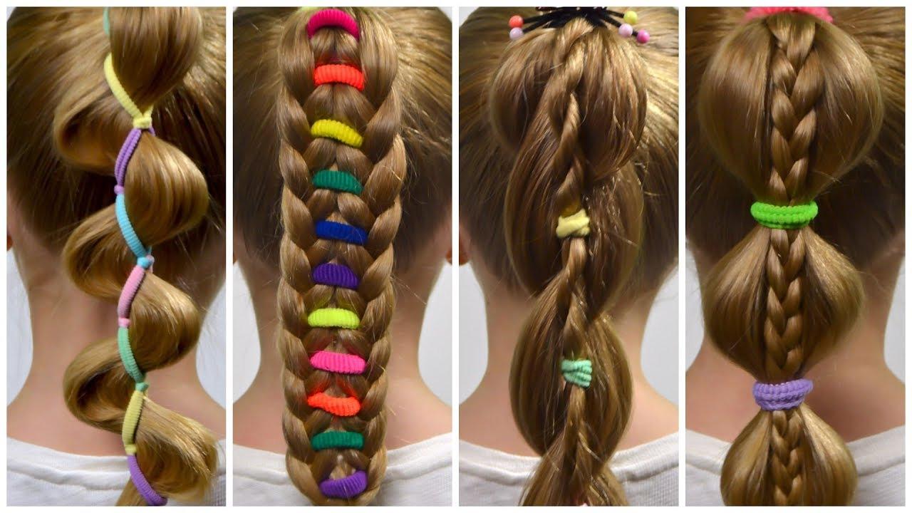 4 Penteados Infantis com Buchinhas coloridas