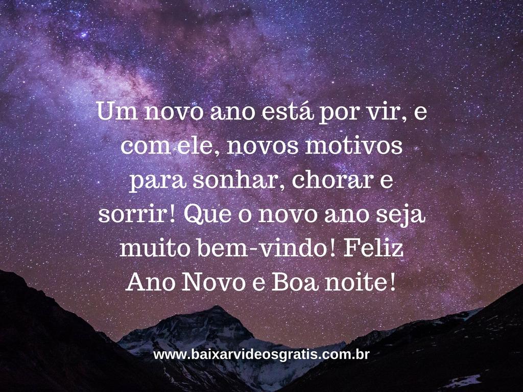 Mensagem bela de boa noite para desejar Feliz Ano Novo, novos motivos para sonhar