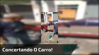 Carro Com Batida Tem Jeito Só No Cimento Hahaha, Confira!