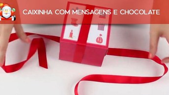 Caixinha Com Mensagens E Chocolate Para Dar De Presente De Natal!