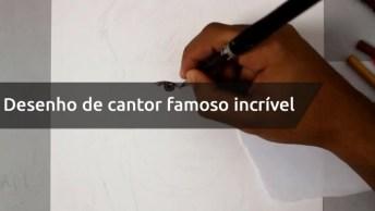 Desenho De Cantor Famoso Incrível, Uma Belíssima Obra De Arte!