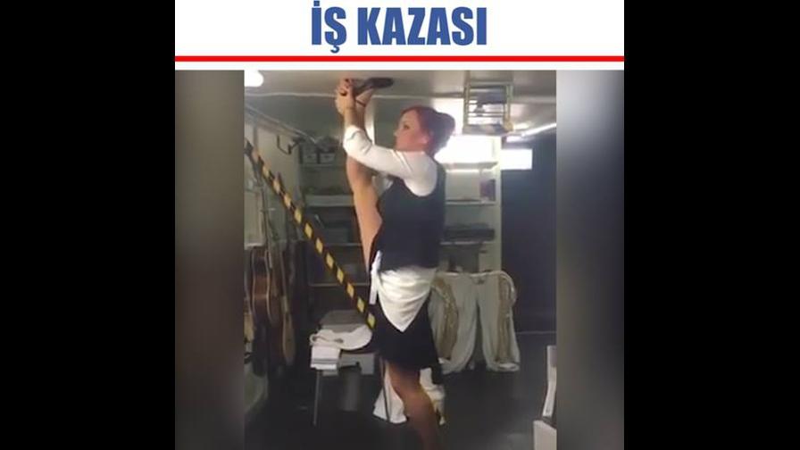 Mulher com salto preso no teto, isso que dá tentar seduzir no trabalho kkk!