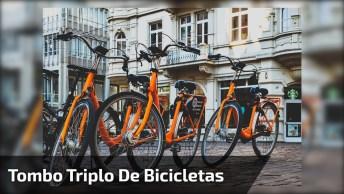 Tombo Triplo De Bicicletas, Pois Cair Com Os Amigos É Mais Gostoso Kkk!