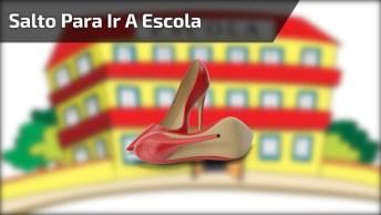 Menina Vai De Salto Para Escola E Paga Mico, Para Dar Muitas Risadas Hahaha!