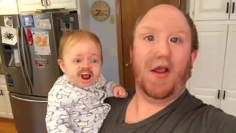 Pai Troca De Rosto Com O Filho Para Gravar Vídeo Cantando!