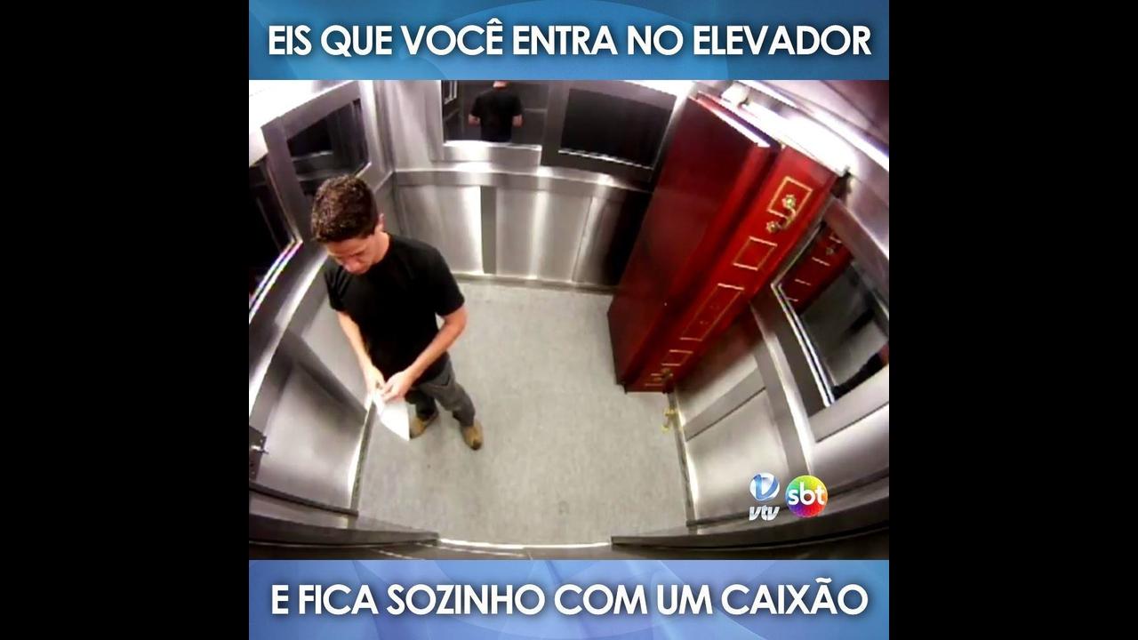 Pegadinha do caixão no elevador