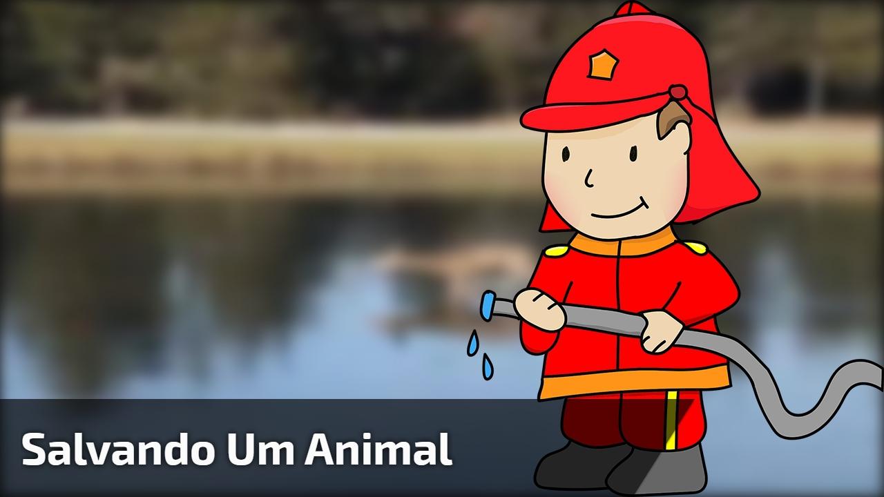 Ajudando um animal que ficou preso no lago congelado, que linda atitude!