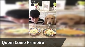 Competição De Cachorros Com Humano Para Ver Quem Come O Macarrão Primeiro!