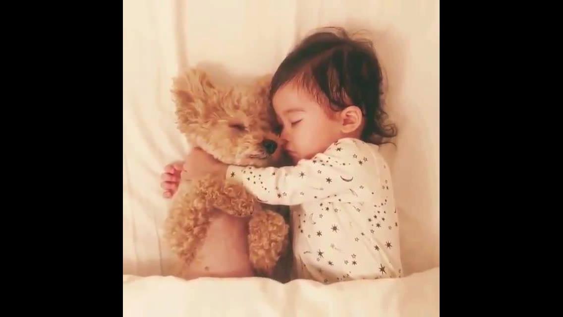 Criança e cachorro dormindo