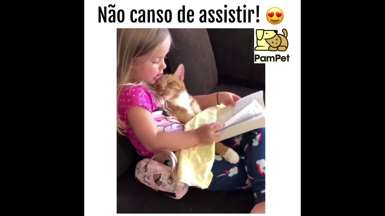 Garotinha lendo uma história para seu gatinho, olha só que coisa mais linda!!!
