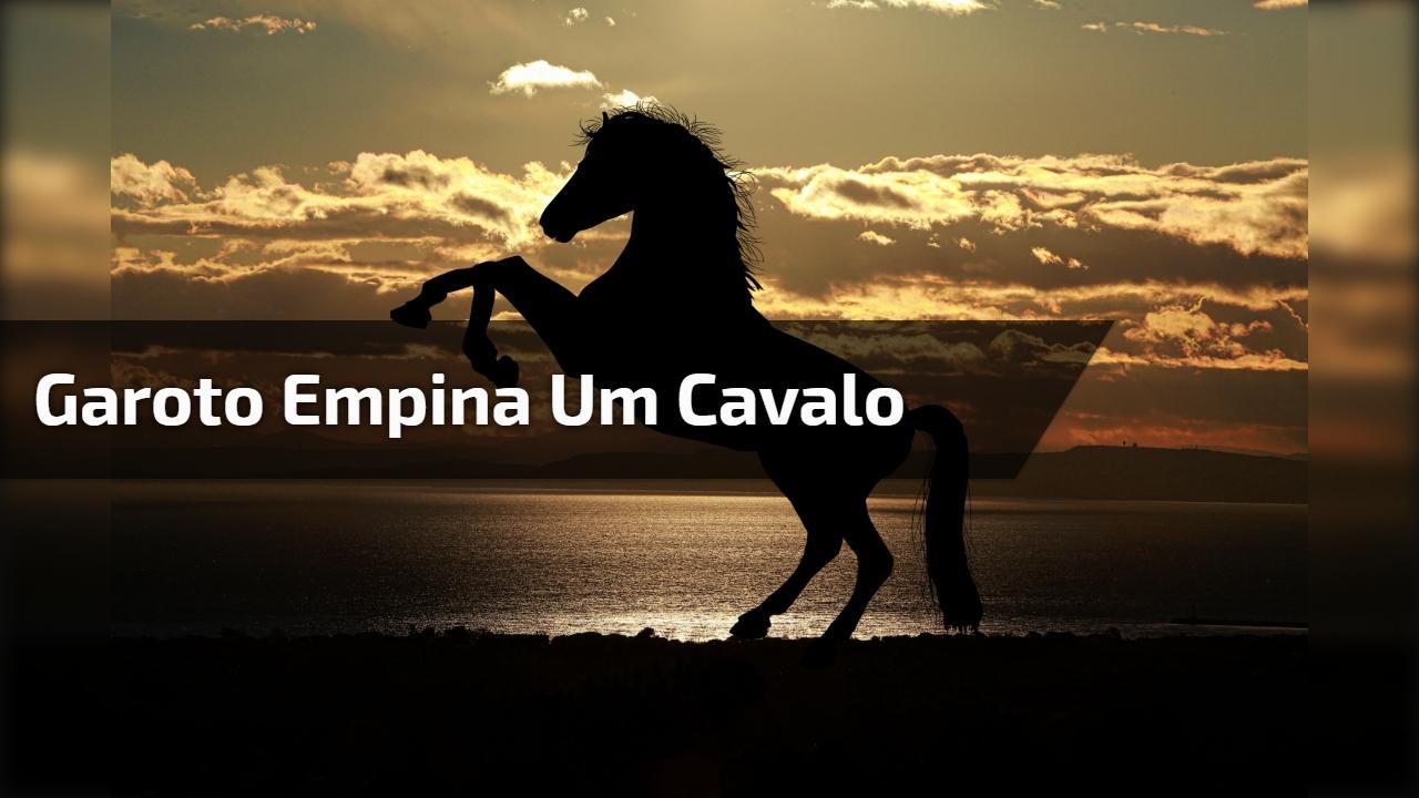 Garoto empina um cavalo