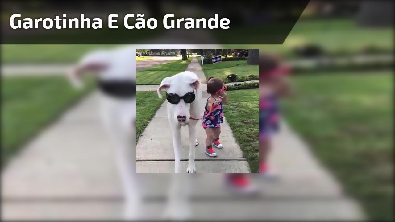 Garotinha e cão grande