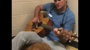 Veterinário Cantando Para Cadela Que Iria Passar Por Uma Cirurgia, Linda Atitude