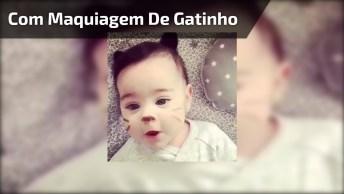 Bebê Com Carinha Pintada De Gatinho, Que Ser Mais Adorável!