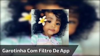 Bebê Com Pele Parda E Filtro De Aplicativo Com Florzinha, Muito Linda!