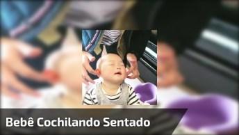 Bebê Com Soninho, Ele Cochila Sentadinho De Tanto Soninho!