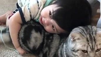 Bebê Dando Um Abraço Fofinho Em Seu Gatinho De Estimação!