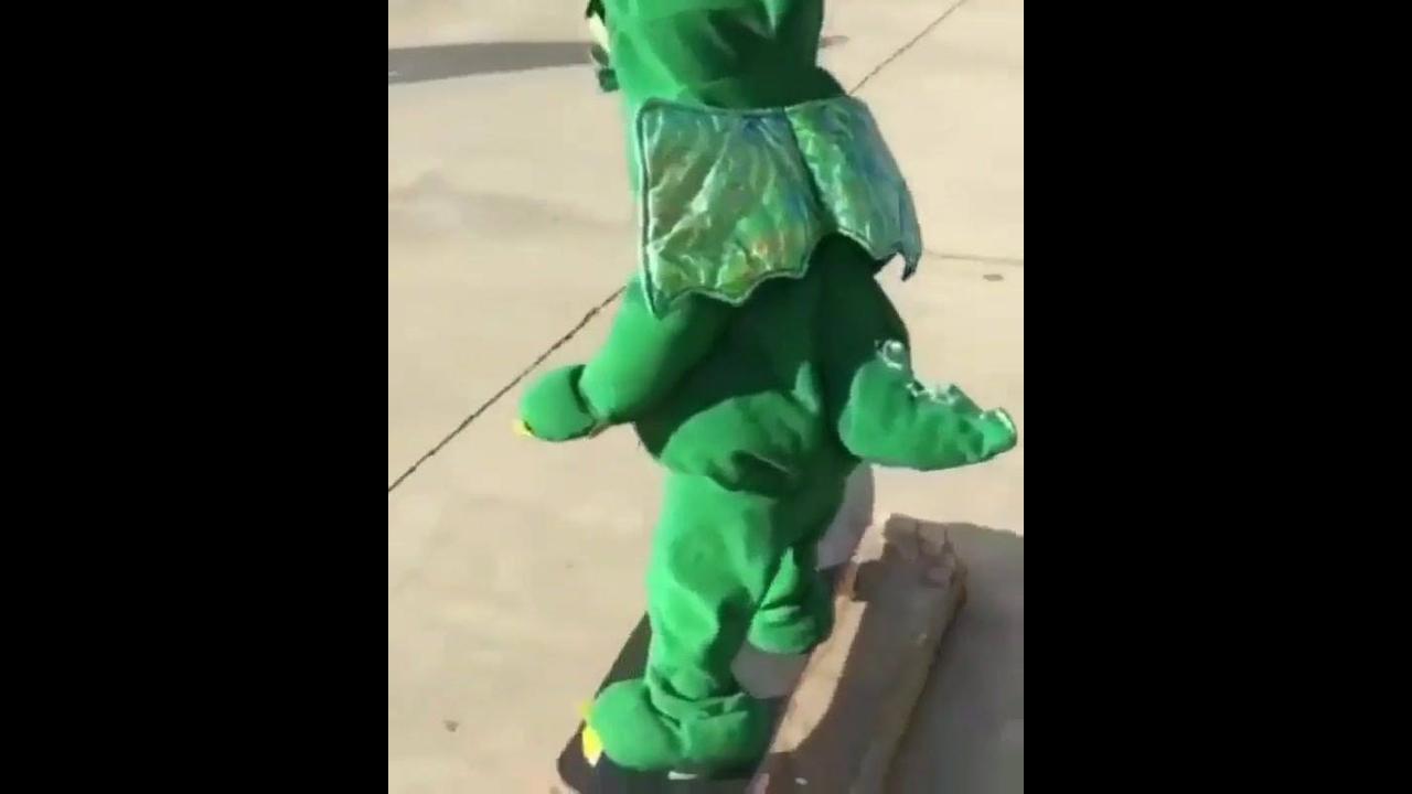 Bebê dinossauro andando de skate