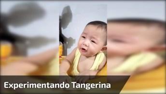 Bebê Experimentando Tangerina Pela Primeira Vez, Que Carinha Mais Linda!