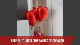 Bebê 'Flutuando' Com Balões, Passando Só Para Deixar Sua Tarde Mais Fofa!