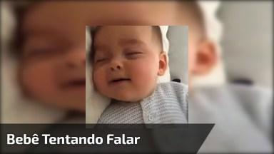 Bebê Tentando Falar As Primeiras Palavras, Uma Fofura De Imagem!