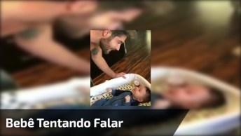 Bebê Tentando Se Comunicar Com O Papai, Prepare-Se Para Um Ataque De Fofura!