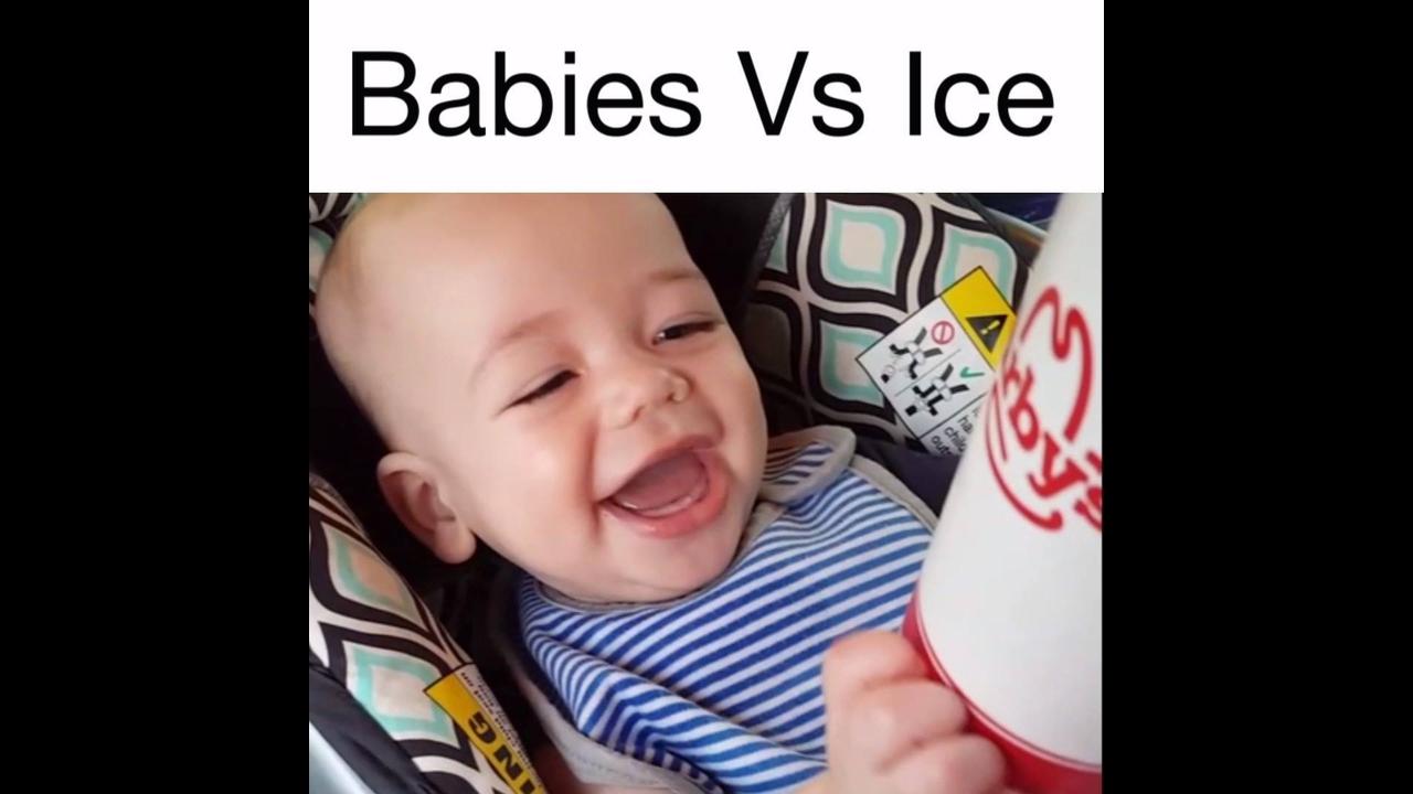 Bebês e gelos, uma combinação que rende muitas risadas