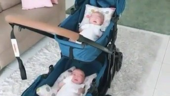 Bebês Gêmeos Em Carrinho Próprio Para Eles, Que Delicia Em Dose Dupla!