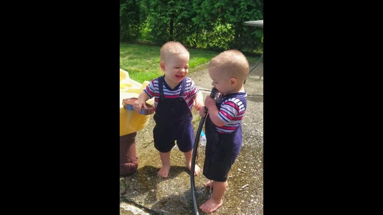 Bebês gêmeos se divertindo muito com uma coisa bem simples da vida