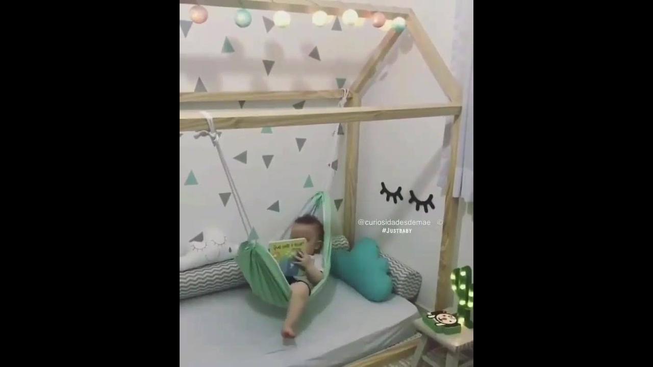 Caminha para bebê com rede de balanço
