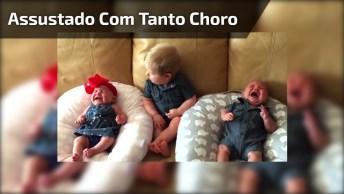 Menino Fica Assustado Com Tanto Choro De Dois Bebês Hahaha!