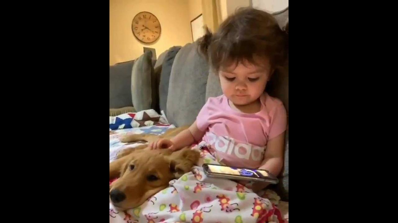 Criança assistindo desenho e fazendo carinho na cabeça do cachorro