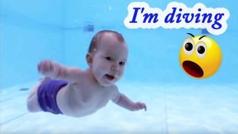 Crianças Mergulhando Em Piscinas, Tem De Todas Idades, Até Uma Sereia!