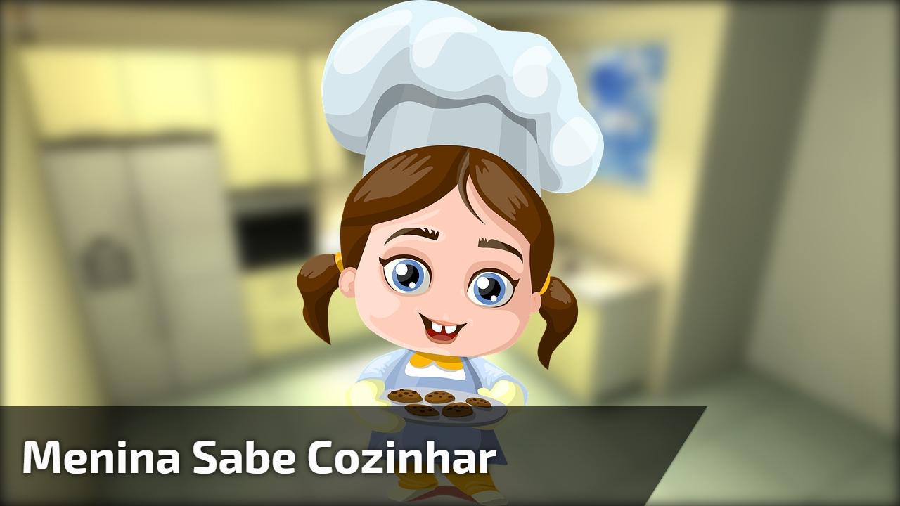 Menina sabe cozinhar