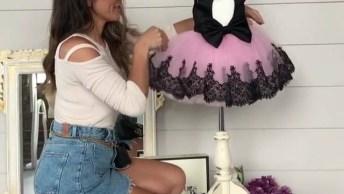 Vestido Infantil Rosa E Preto, Sua Filha Vai Se Sentir Uma Princesa De Desenhos!