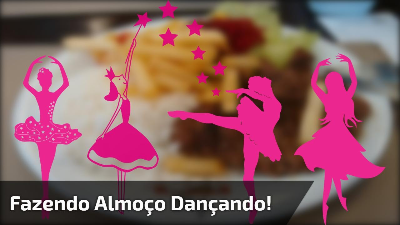 Mulher dançando e fazendo almoço, o que vale é ser feliz!