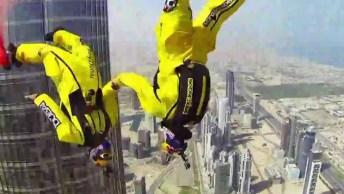 'Voando' Com Roupas De Morcego Sobre Dubai, Adrenalina No Último!