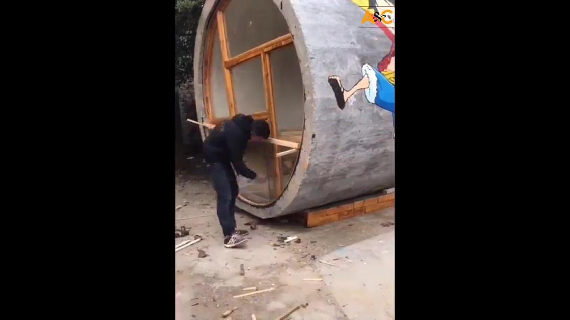 Impressionante casa feita em um tubo de concreto