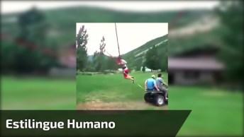 Impressionante Estilingue Humano, Veja A Velocidade Que A Pessoa É Arremessado!