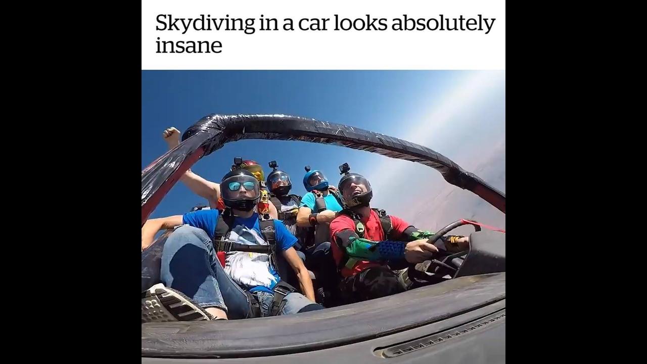 Impressionante salto de paraquedas com carro junto
