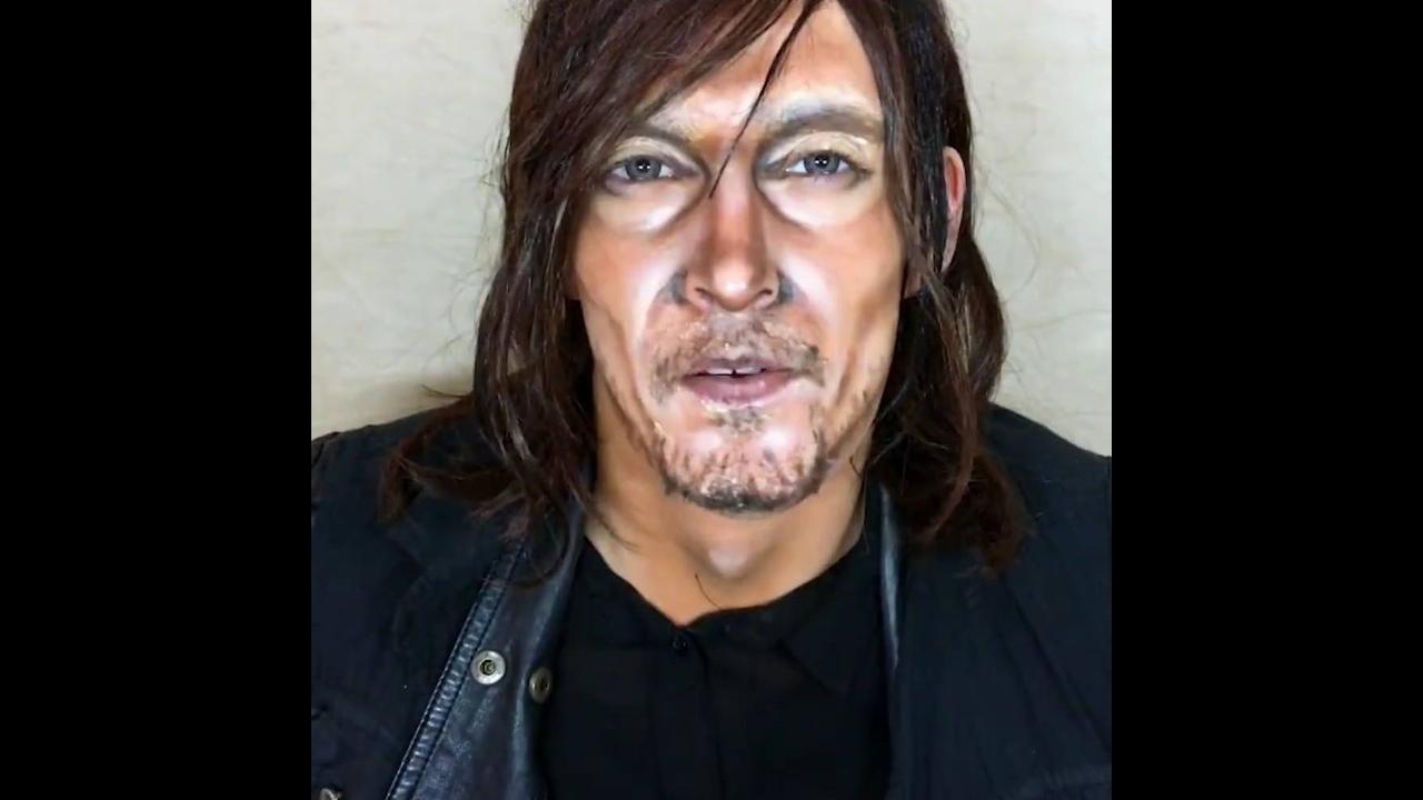 Mulher se transforma em vários personagens da serie The Walking Dead