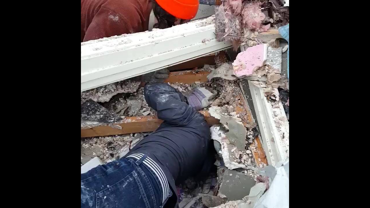 Homem salva filhote que estava preso entre os escombros depois de um tornado