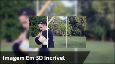 Imagem Em 3D De Rapaz Com Taco De Baseball, Muito Legal!