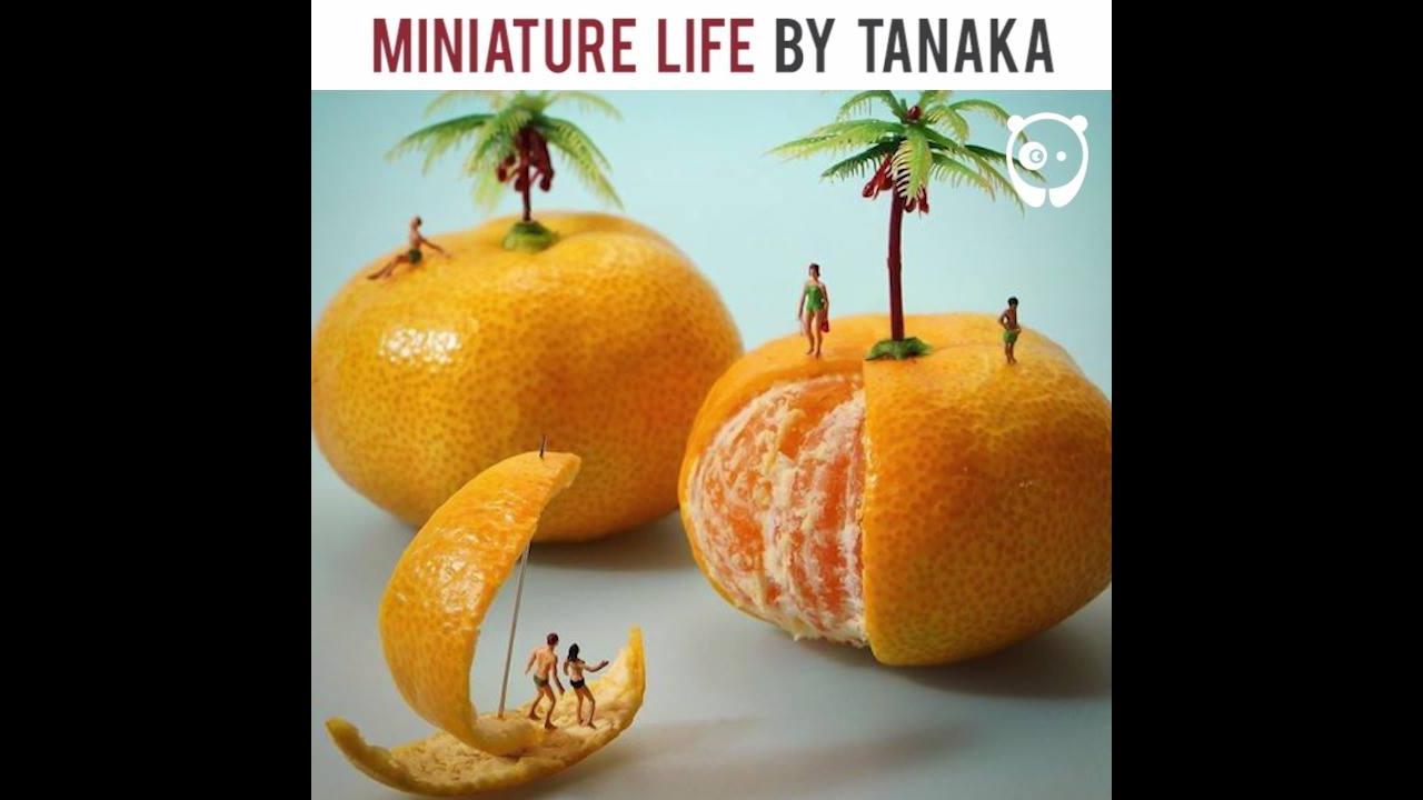 Miniaturas de pessoas com objetos grandes