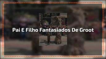 Pai E Filho Fantasiados De Groot, Do Filme Guardião Da Galaxia 2!