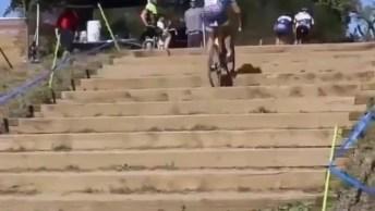 Subindo Uma Escada De Bicicleta, Por Essa Ninguém Esperava!