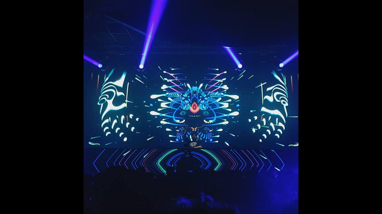 Combinação de luzes com musica