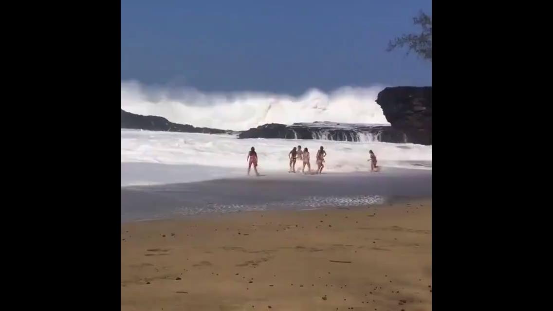 A força das ondas desta praia são assustadoras