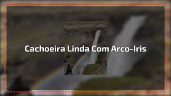 Cachoeira Linda Com Arco-Iris Para Ficar Ainda Mais Magico, Confira!